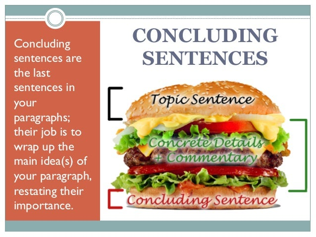 Concluding sentences are the last sentences in your paragraphs; their job is to wrap up the main idea(s) of your paragraph...