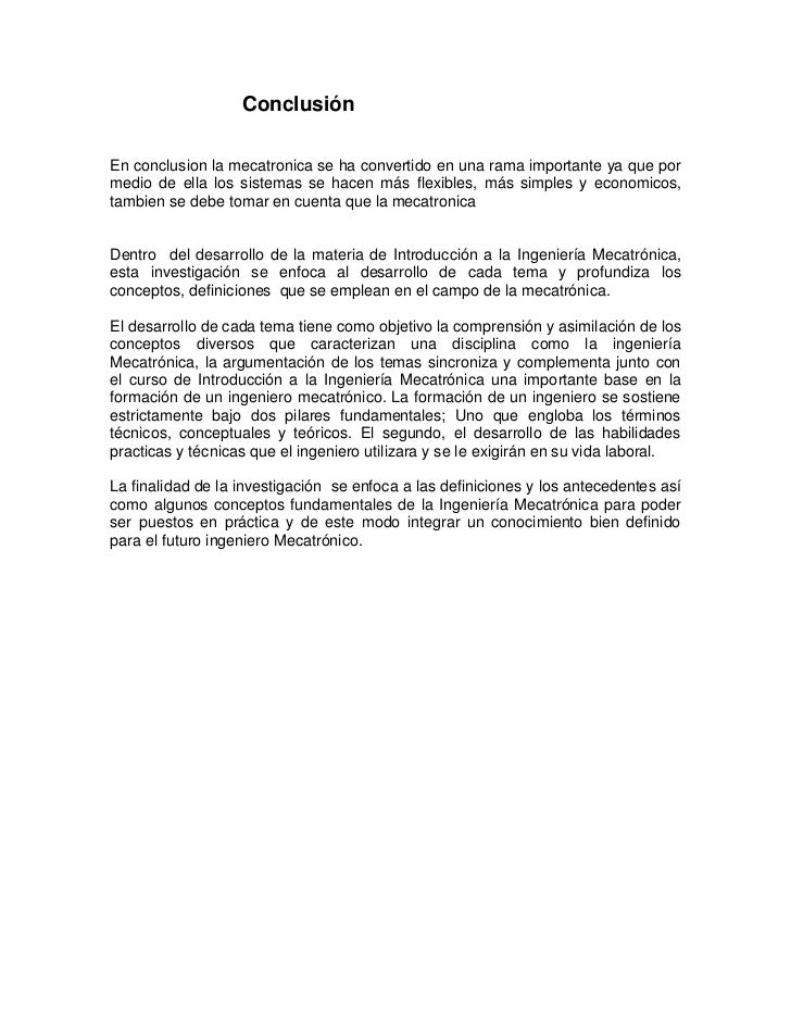 Conclusión mecatronica
