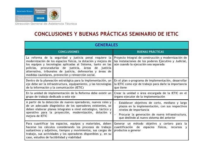 Dirección General de Asistencia Técnica                CONCLUSIONES Y BUENAS PRÁCTICAS SEMINARIO DE IETIC                 ...