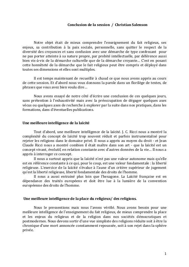 Conclusion de le Session 2013 (Christian Salenson)