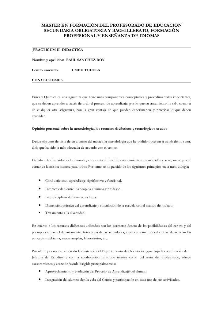 MÁSTER EN FORMACIÓN DEL PROFESORADO DE EDUCACIÓN         SECUNDARIA OBLIGATORIA Y BACHILLERATO, FORMACIÓN                P...