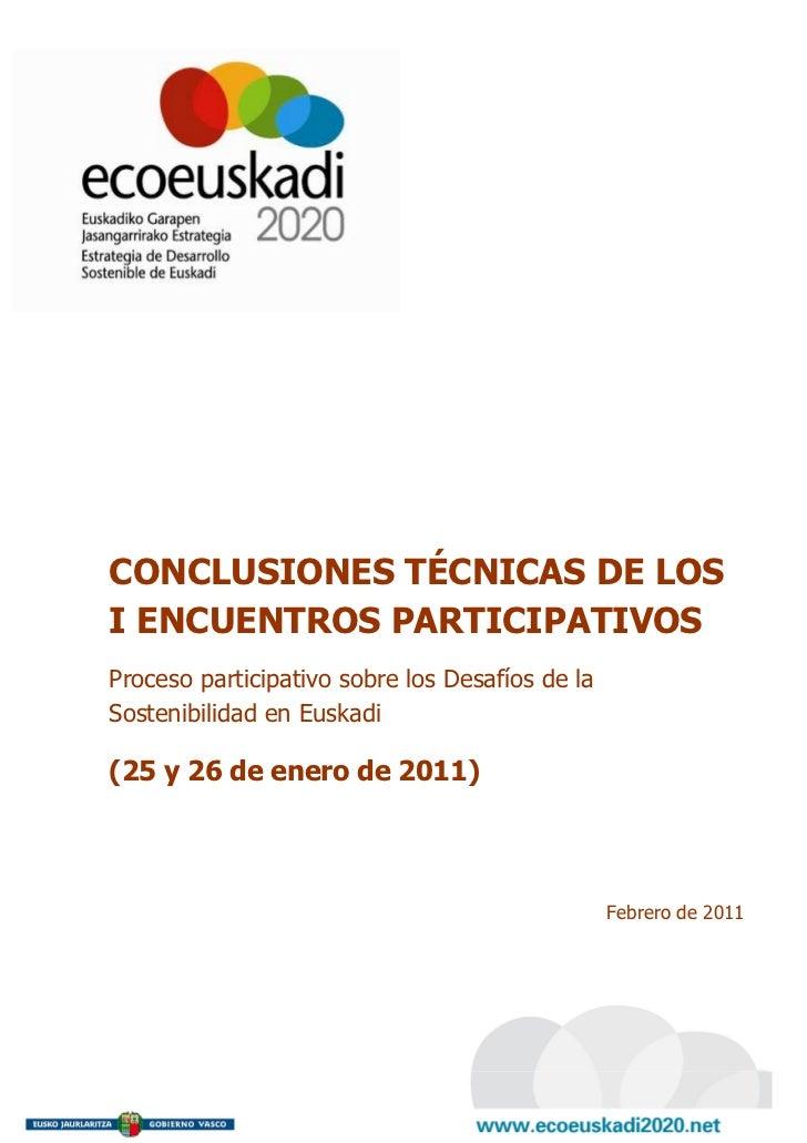 Conclusiones I Encuentros Participativos Enero 2011