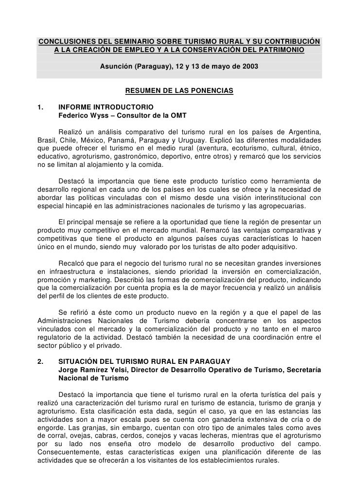 CONCLUSIONES DEL SEMINARIO SOBRE TURISMO RURAL Y SU CONTRIBUCIÓN    A LA CREACIÓN DE EMPLEO Y A LA CONSERVACIÓN DEL PATRIM...