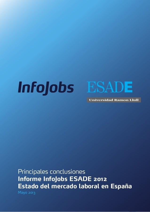 1Principales conclusionesInforme InfoJobs ESADE 2012Estado del mercado laboral en EspañaMayo 2013