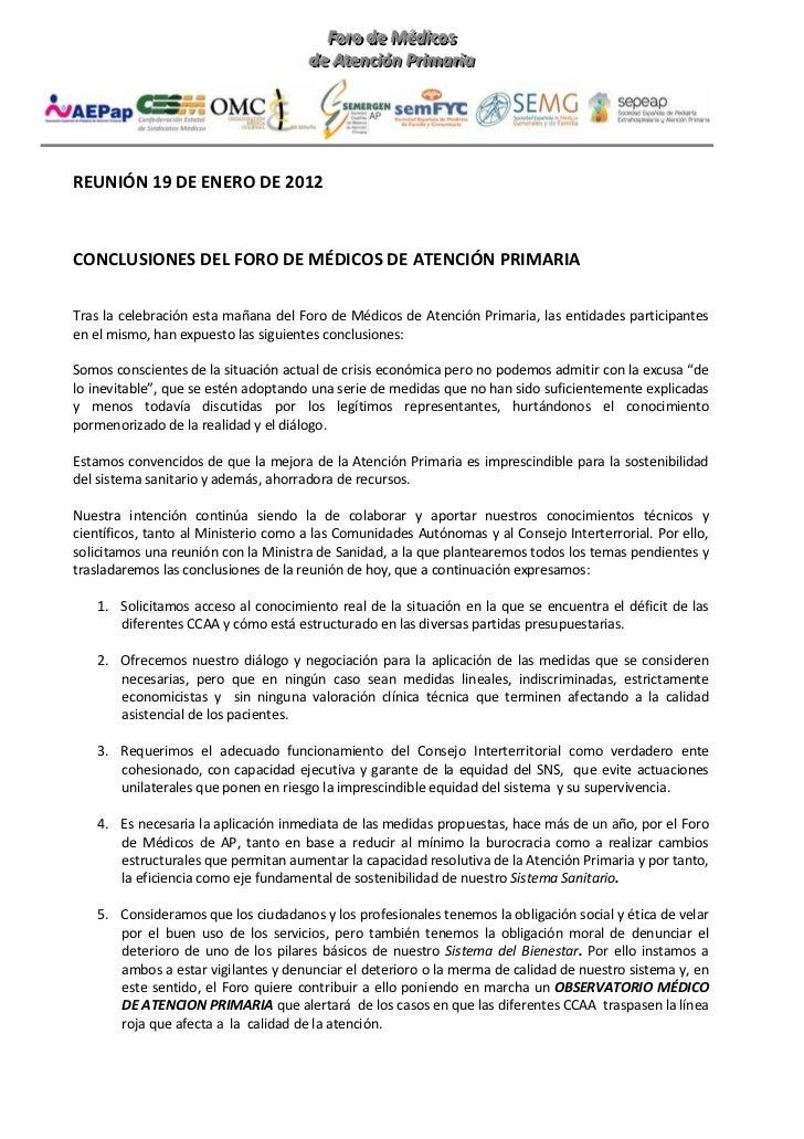 Conclusiones Foro Atención Primaria 19/01/2012