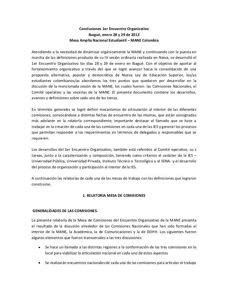 Conclusiones 1er Encuentro Organizativo                               Ibagué, enero 28 y 29 de 2012                      M...