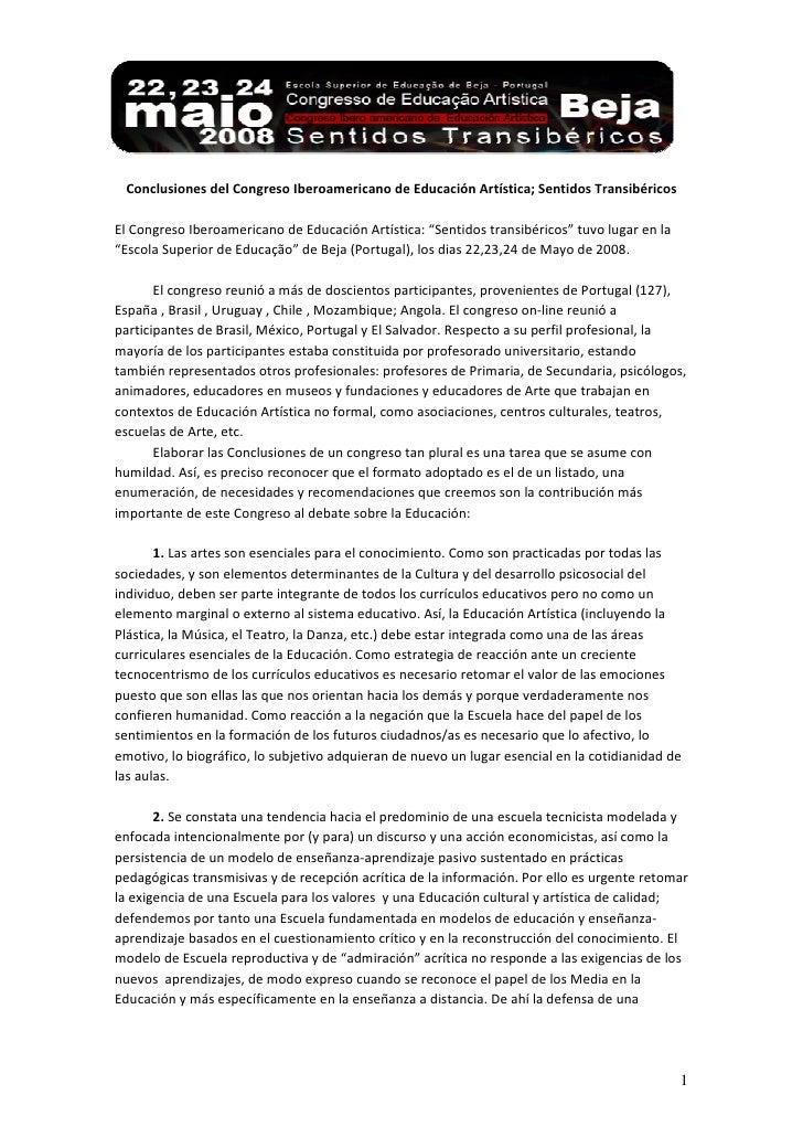 Conclusiones del Congreso Iberoamericano de Educación Artística; Sentidos TransibéricosEl Congreso Iberoamericano de Educa...