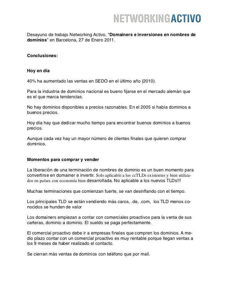 """Desayuno de trabajo Networking Activo, """"Domainers e inversiones en nombres dedominios"""" en Barcelona, 27 de Enero 2011.Conc..."""