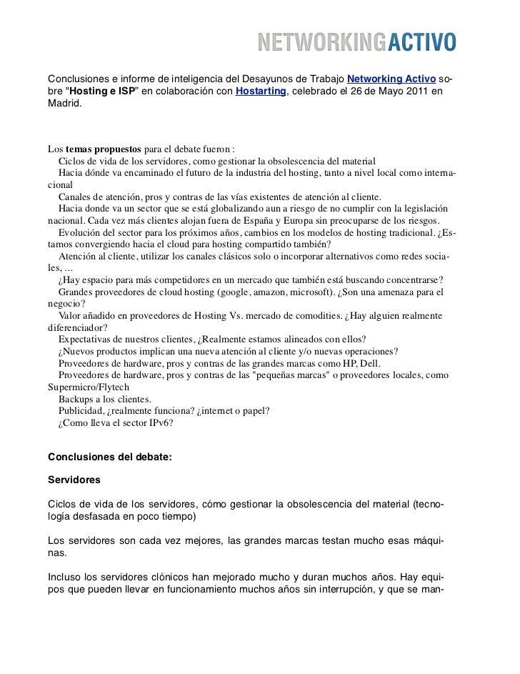 """Conclusiones e informe de inteligencia del Desayunos de Trabajo Networking Activo so-bre """"Hosting e ISP"""" en colaboración c..."""