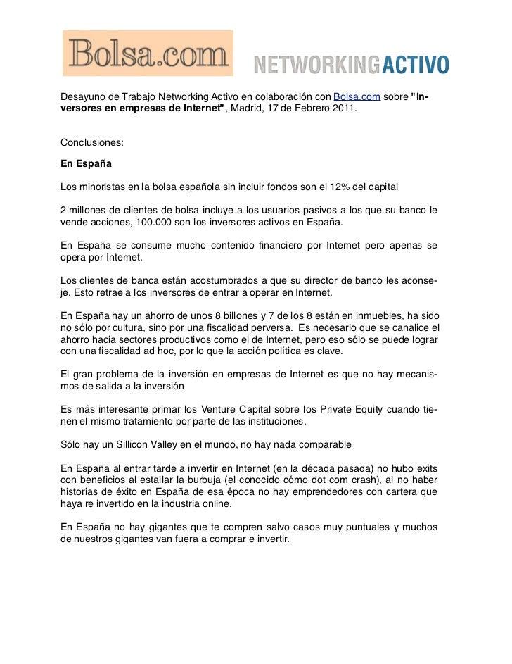 """Desayuno de Trabajo Networking Activo en colaboración con Bolsa.com sobre """"In-versores en empresas de Internet"""", Madrid, 1..."""
