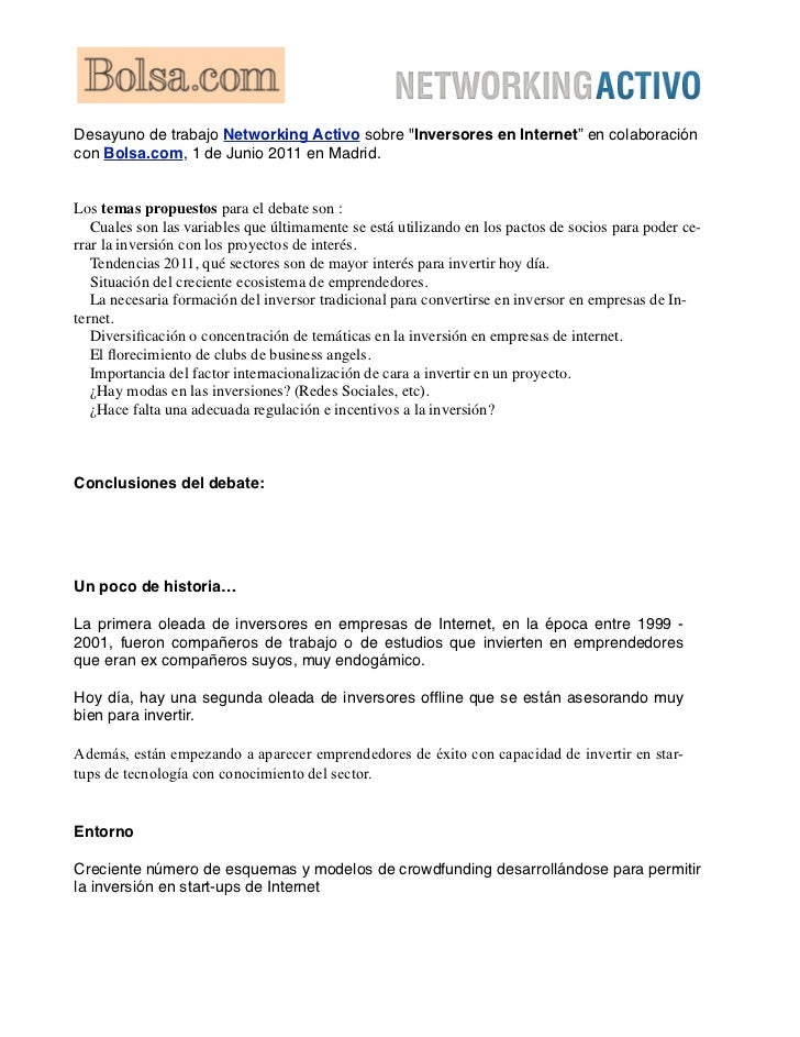 """Desayuno de trabajo Networking Activo sobre """"Inversores en Internet"""" en colaboracióncon Bolsa.com, 1 de Junio 2011 en Madr..."""