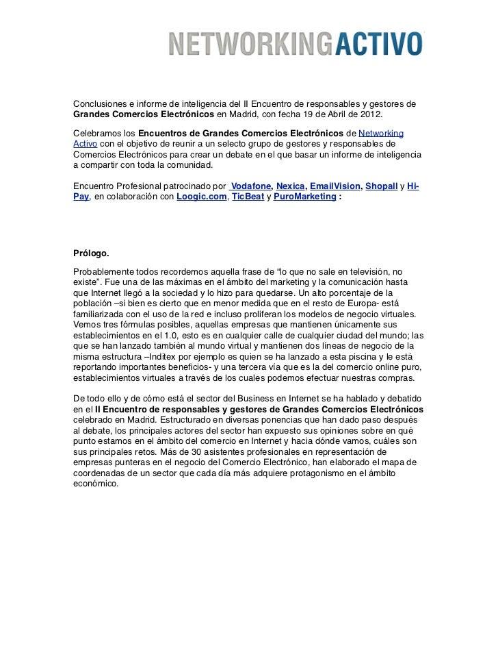 Conclusiones e informe de inteligencia del II Encuentro de responsables y gestores deGrandes Comercios Electrónicos en Mad...