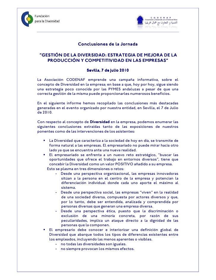 """Conclusiones de la Jornada """"GESTIÓN DE LA DIVERSIDAD: ESTRATEGIA DE MEJORA DE LA    PRODUCCIÓN Y COMPETITIVIDAD EN LAS EMP..."""