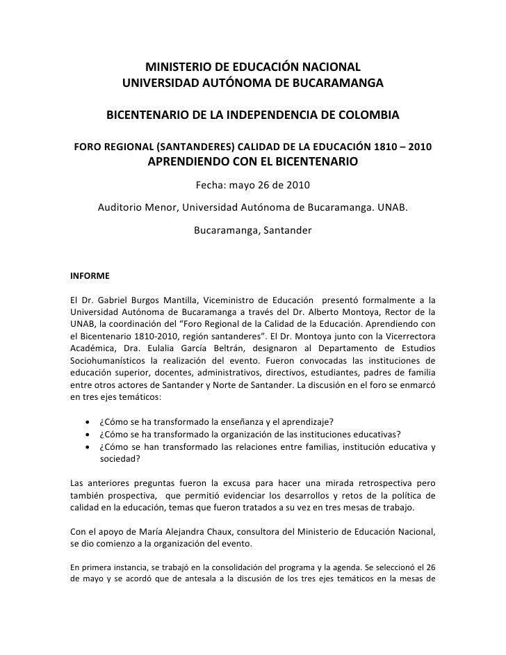 MINISTERIO DE EDUCACIÓN NACIONAL              UNIVERSIDAD AUTÓNOMA DE BUCARAMANGA           BICENTENARIO DE LA INDEPENDENC...