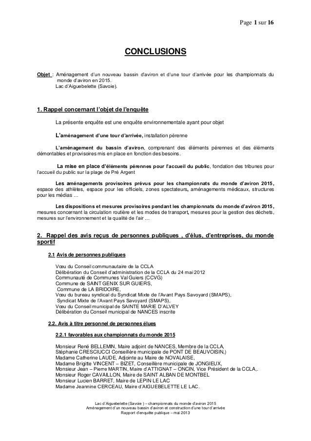 Page 1 sur 16Lac d'Aiguebelette (Savoie ) – championnats du monde d'aviron 2015Aménagement d'un nouveau bassin d'aviron et...