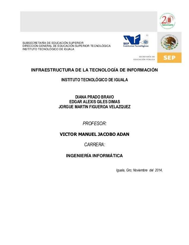 INFRAESTRUCTURA DE LA TECNOLOGÍA DE INFORMACIÓN  INSTITUTO TECNOLÓGICO DE IGUALA  DIANA PRADO BRAVO  EDGAR ALEXIS GILES DI...
