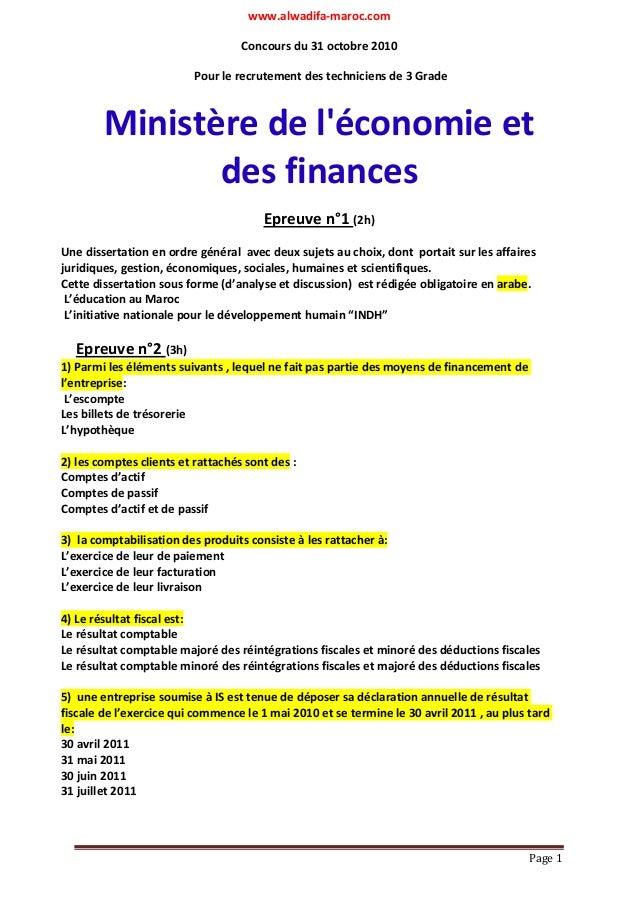 www.alwadifa-maroc.com  Page 1  Concours du 31 octobre 2010  Pour le recrutement des techniciens de 3 Grade  Ministère de ...