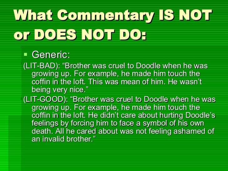 What does commentary mean? Thanks?