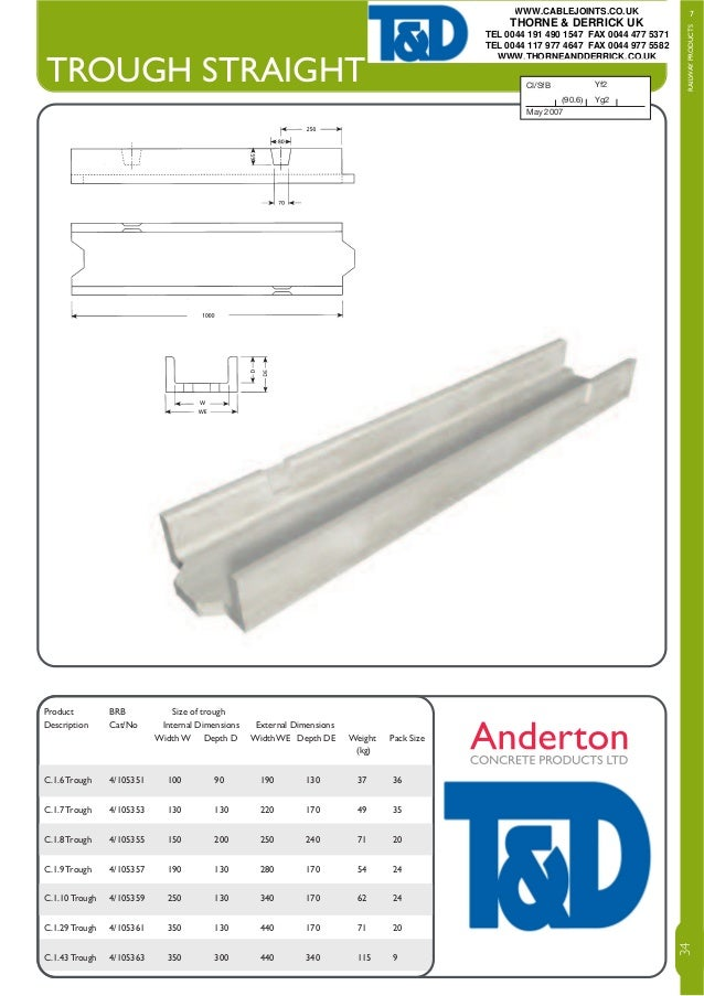 TROUGH STRAIGHT T: 01606 79436 F: 01606 871 590 E: sales@andertonconcrete.co.uk W: www.andertonconcrete.co.uk A: Anderton ...