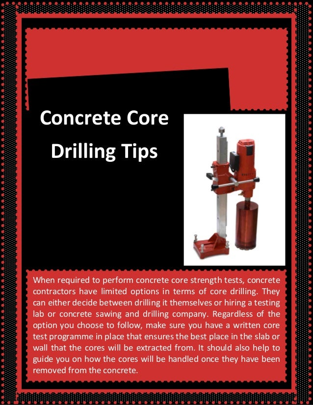 Concrete core drilling tips for Concrete advice