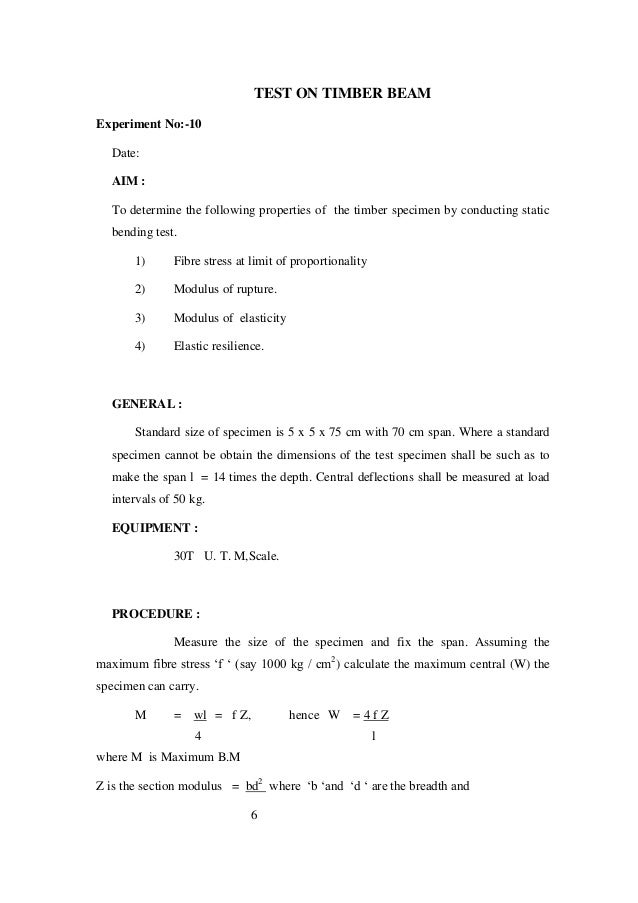bending of beams experiment report The cantilevered beam system used in this experiment is shown in figure 1 it bending moment shear force f figure 2: bending of flexible beam.