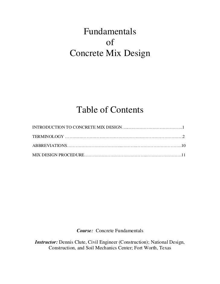 Concrete mix design
