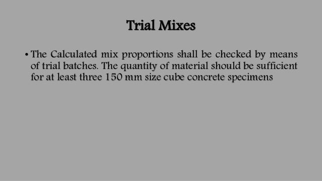 Concrete Mix Design Example : Concrete mix design