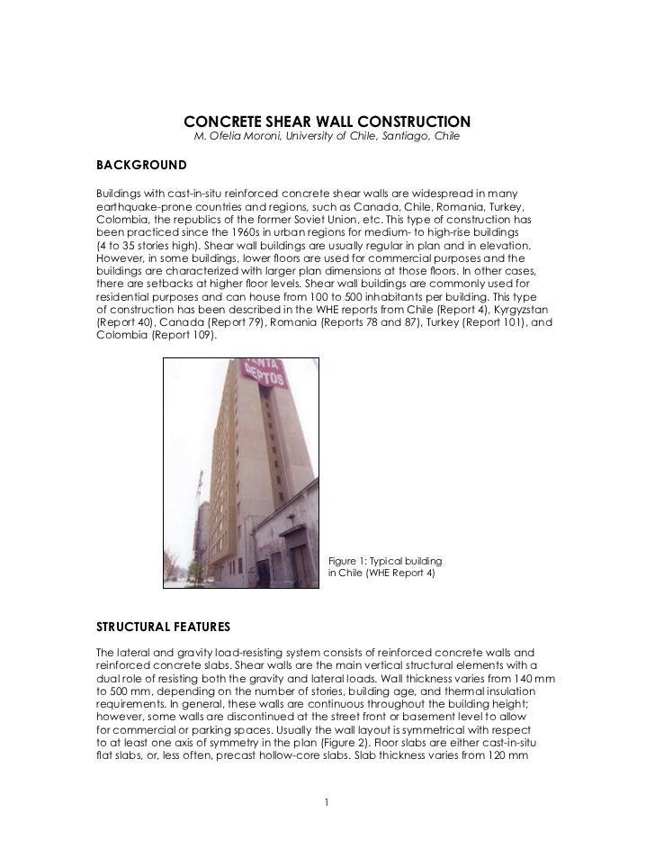 CONCRETE SHEAR WALL CONSTRUCTION                   M. Ofelia Moroni, University of Chile, Santiago, ChileBACKGROUNDBuildin...
