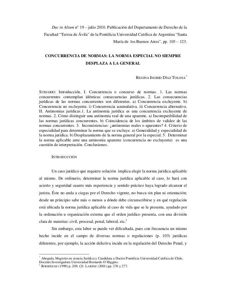 """Duc in Altum n° 19 – julio 2010. Publicación del Departamento de Derecho de la    Facultad """"Teresa de Ávila"""" de la Pontifi..."""