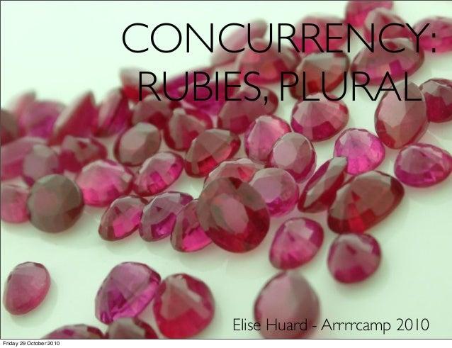 CONCURRENCY: RUBIES, PLURAL Elise Huard - Arrrrcamp 2010 Friday 29 October 2010