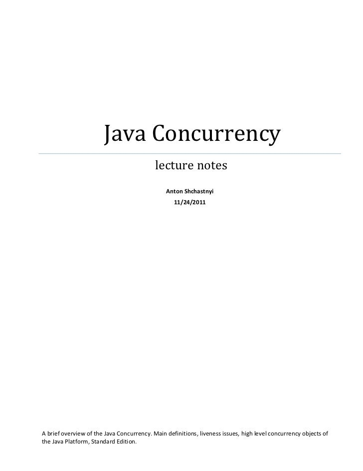 Java Concurrency                                           lecture notes                                               Ant...
