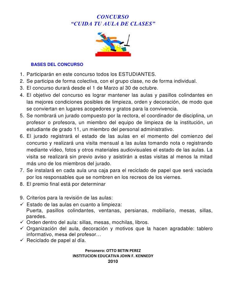 """CONCURSO<br />""""CUIDA TU AULA DE CLASES""""<br />BASES DEL CONCURSO<br />Participarán en este concurso todos los ESTUDIANTES. ..."""