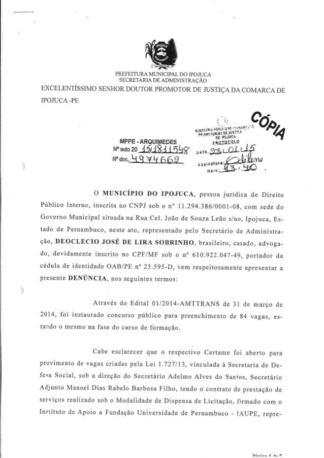 PREFEITURA MUNICIPAL DO IPOILICA SECRETARIA DE ADMINISTRACAO  EXCELENTÍSSIMO SENHOR DOUTOR PROMOTOR DE JUSTIÇA DA COMARCA ...