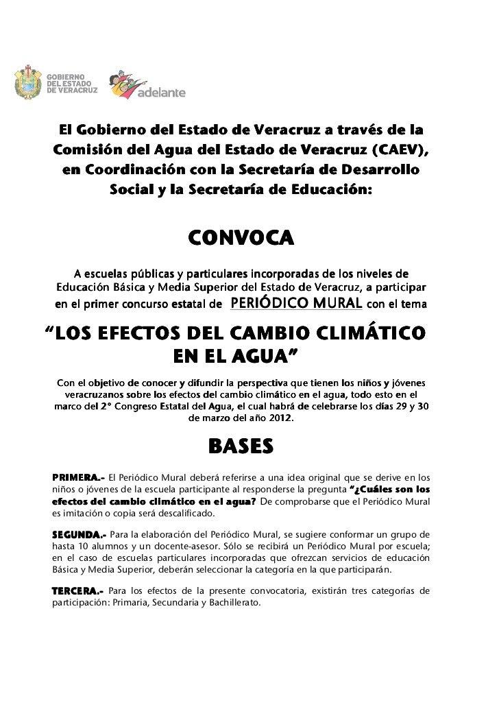 El Gobierno del Estado de Veracruz a través de laComisión del Agua del Estado de Veracruz (CAEV), en Coordinación con la S...