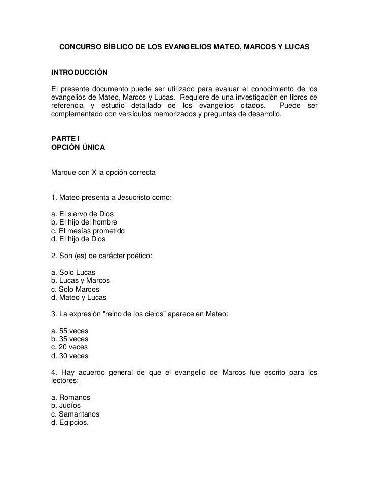 CONCURSO BÍBLICO DE LOS EVANGELIOS MATEO, MARCOS Y LUCASINTRODUCCIÓNEl presente documento puede ser utilizado para evaluar...