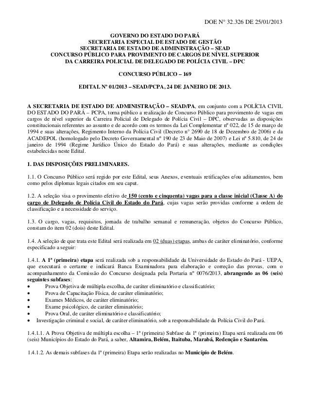 DOE N° 32.326 DE 25/01/2013                           GOVERNO DO ESTADO DO PARÁ                    SECRETARIA ESPECIAL DE ...