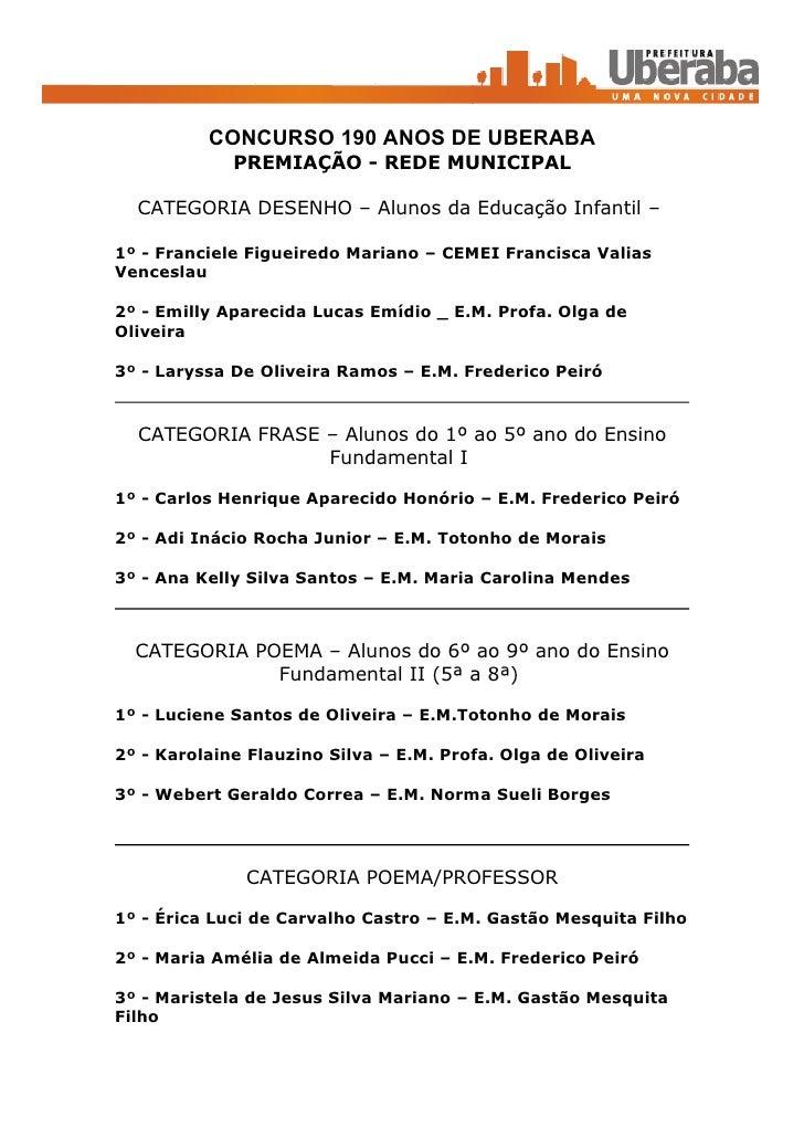 CONCURSO 190 ANOS DE UBERABA              PREMIAÇÃO - REDE MUNICIPAL    CATEGORIA DESENHO – Alunos da Educação Infantil – ...
