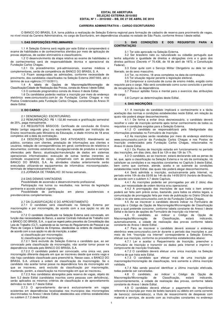 EDITAL DE ABERTURA                                                                   SELEÇÃO EXTERNA 2010/002             ...