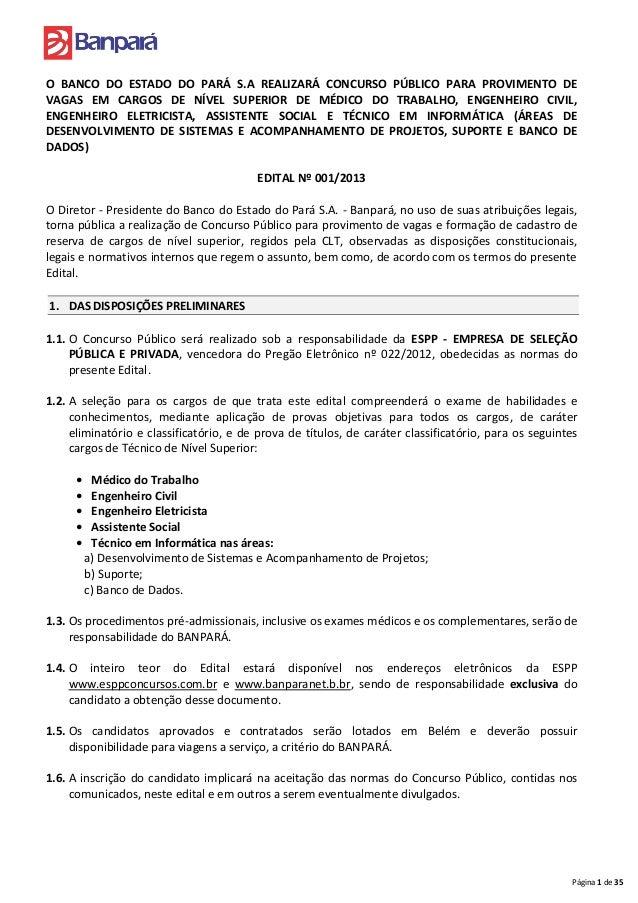 O BANCO DO ESTADO DO PARÁ S.A REALIZARÁ CONCURSO PÚBLICO PARA PROVIMENTO DEVAGAS EM CARGOS DE NÍVEL SUPERIOR DE MÉDICO DO ...