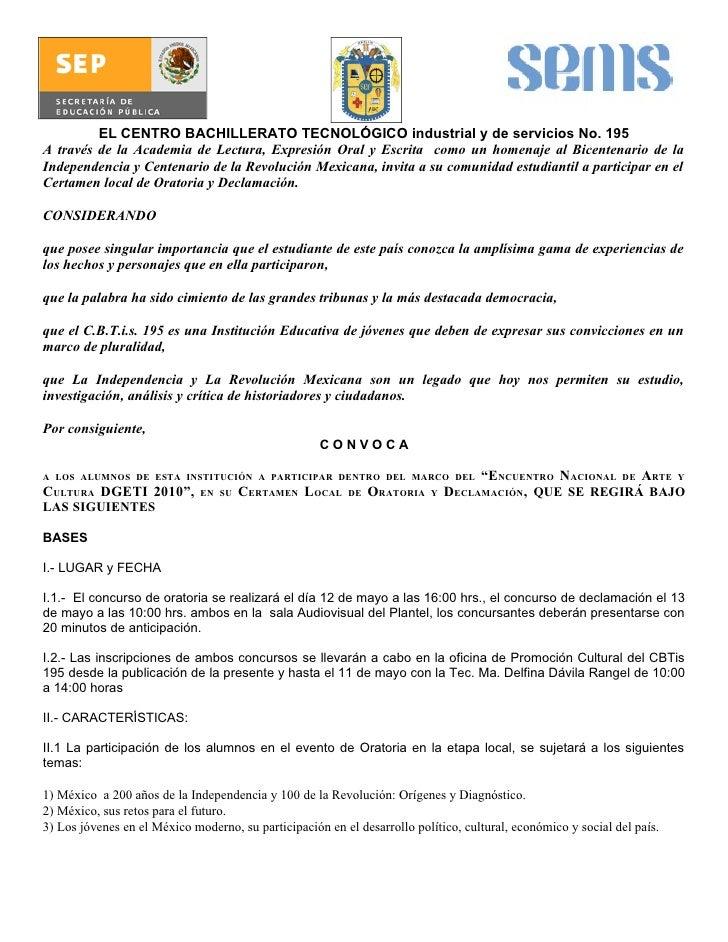 EL CENTRO BACHILLERATO TECNOLÓGICO industrial y de servicios No. 195 A través de la Academia de Lectura, Expresión Oral y ...