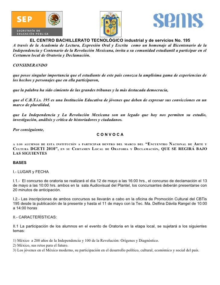 Concurso Convocatorias 2010 Composición Oratoria Decl