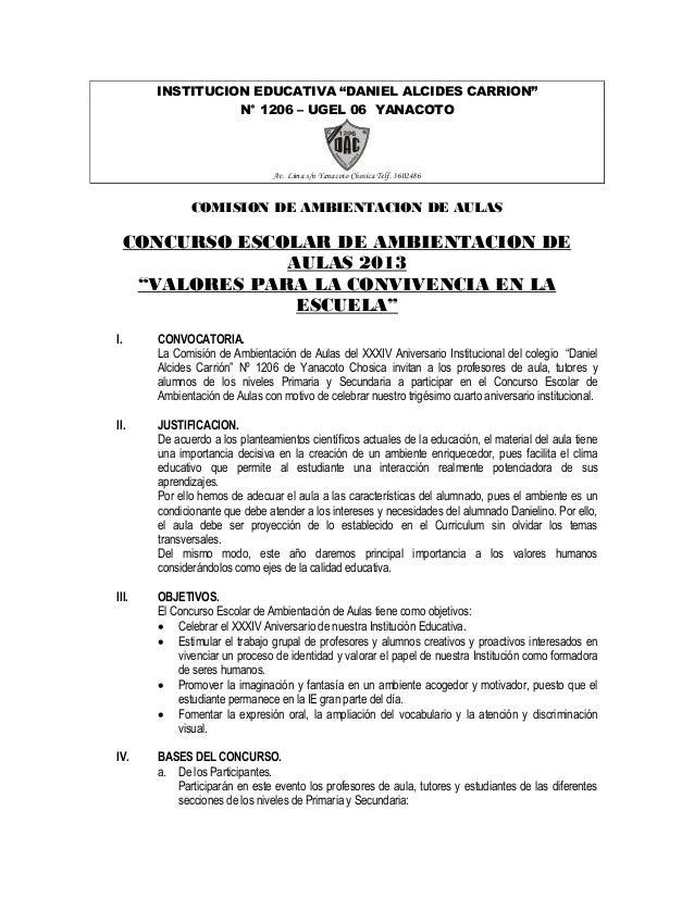 "INSTITUCION EDUCATIVA ""DANIEL ALCIDES CARRION"" N° 1206 – UGEL 06 YANACOTO Av. Lima s/n Yanacoto Chosica Telf. 3602486 COMI..."