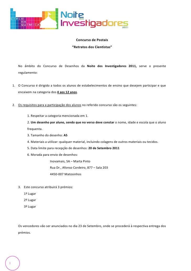 """Concurso de Postais                                              """"Retratos dos Cientistas""""       No âmbito do Concurso de ..."""
