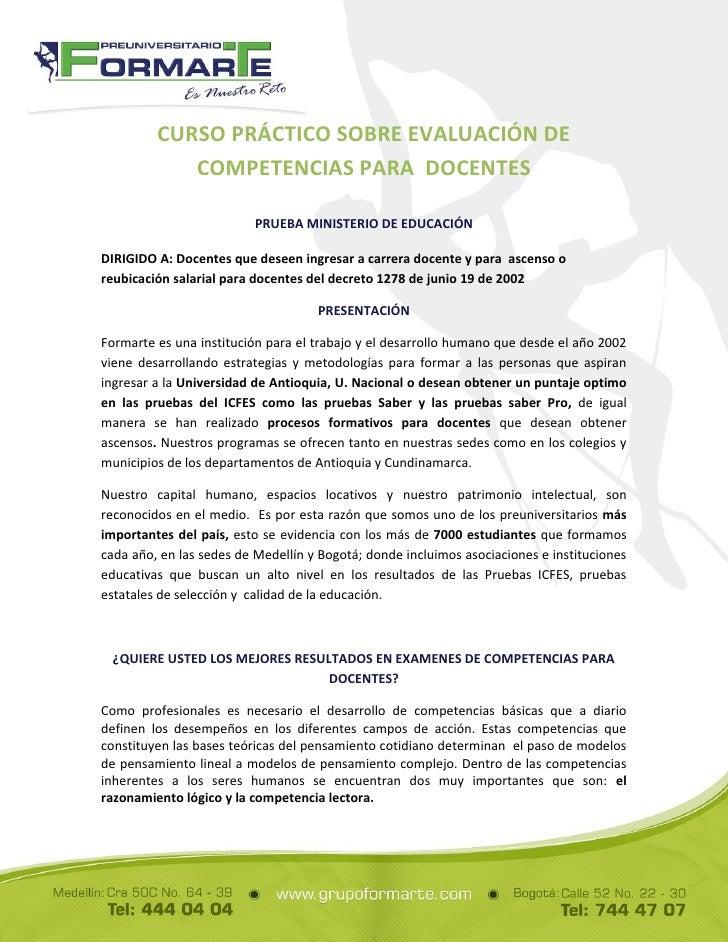 CURSO PRÁCTICO SOBRE EVALUACIÓN DE            COMPETENCIAS PARA DOCENTES                          PRUEBA MINISTERIO DE EDU...