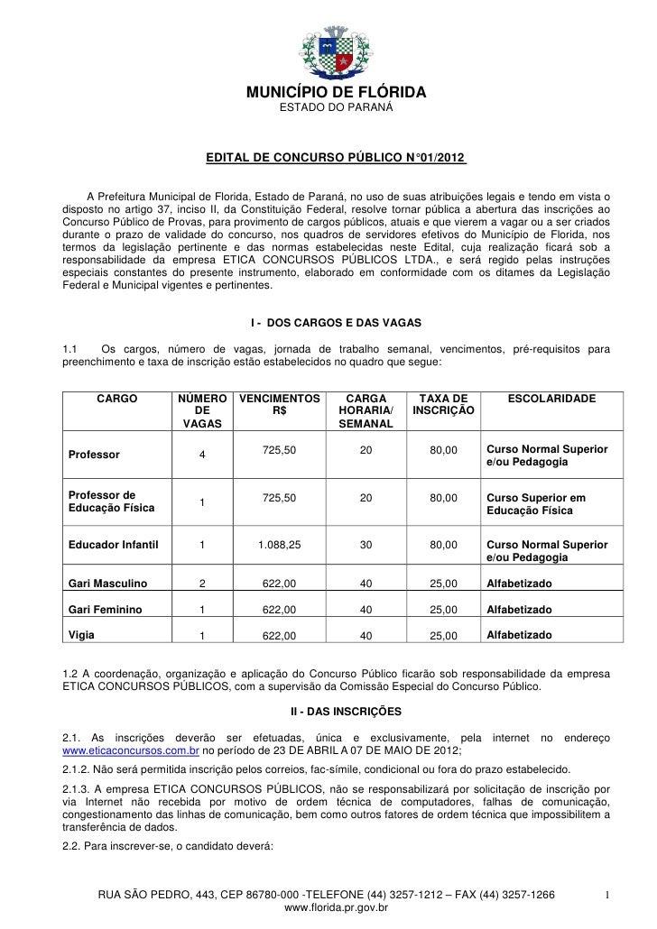MUNICÍPIO DE FLÓRIDA                                              ESTADO DO PARANÁ                                EDITAL D...