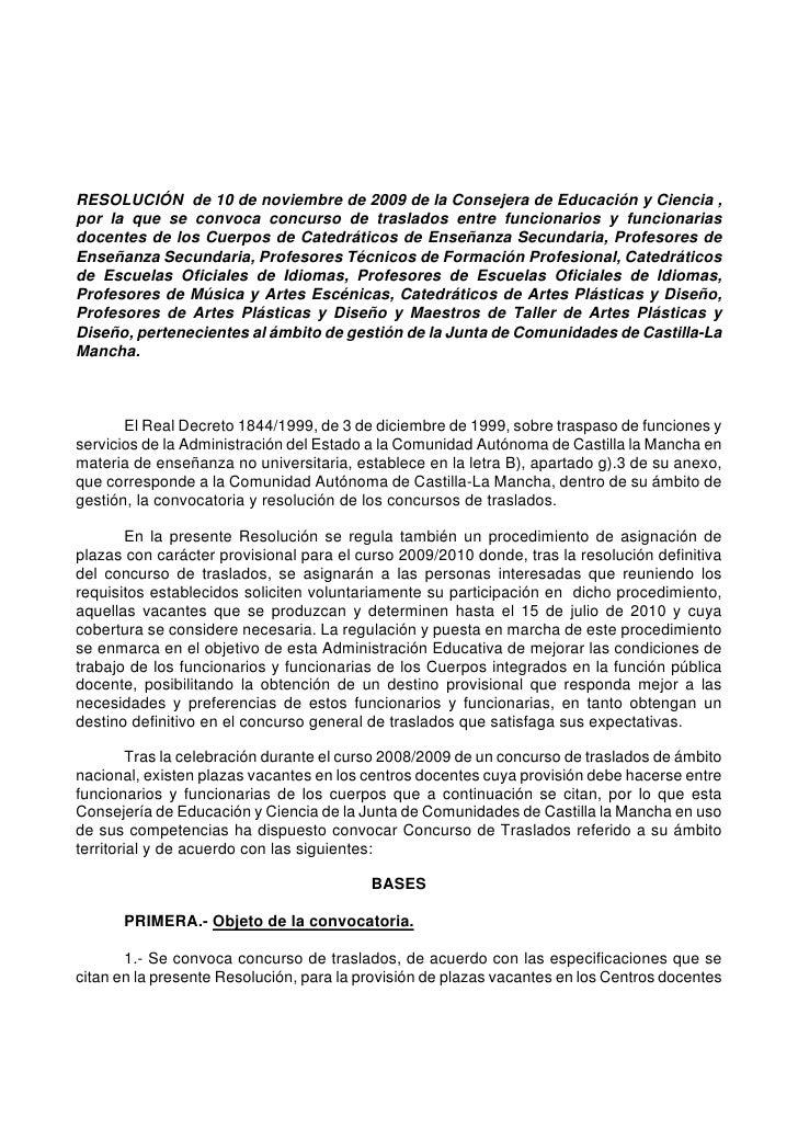 RESOLUCIÓN de 10 de noviembre de 2009 de la Consejera de Educación y Ciencia , por la que se convoca concurso de traslados...