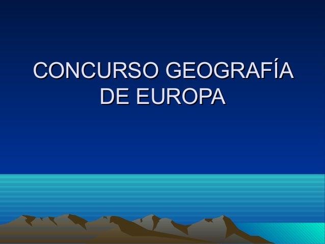 Concurso geografía de europa