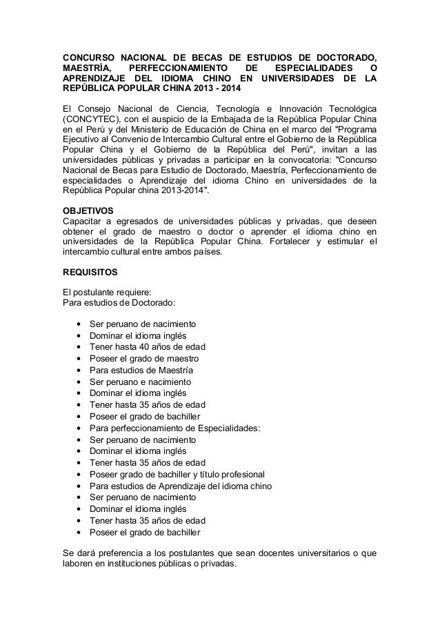 CONCURSO NACIONAL DE BECAS DE ESTUDIOS DE DOCTORADO,MAESTRÍA,   PERFECCIONAMIENTO       DE ESPECIALIDADES OAPRENDIZAJE DEL...