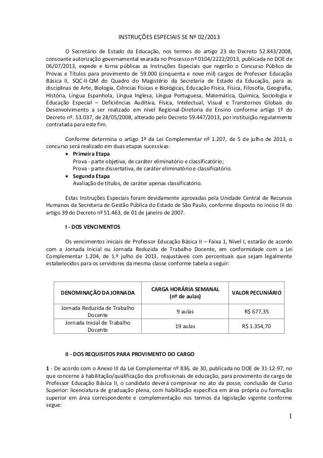 Concurso para PEB II /2013  - Instruções Especiais SE nº   02/2013