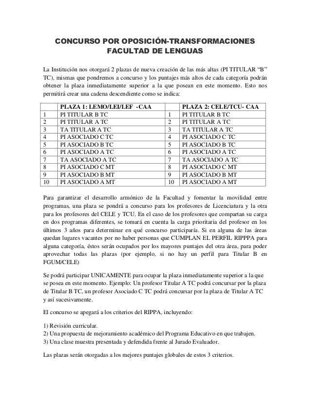 CONCURSO POR OPOSICIÓN-TRANSFORMACIONES FACULTAD DE LENGUAS La Institución nos otorgará 2 plazas de nueva creación de las ...